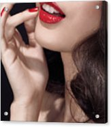 Woman With Red Lipstick Closeup Of Sensual Mouth Acrylic Print by Oleksiy Maksymenko