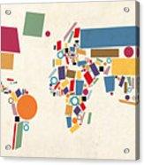 World Map Abstract Acrylic Print by Michael Tompsett