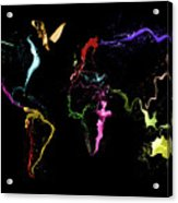 World Map Abstract Paint Acrylic Print by Michael Tompsett
