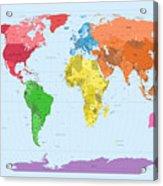 World Map Continents Acrylic Print by Michael Tompsett