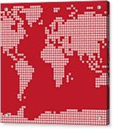 World Map Love Hearts Acrylic Print by Michael Tompsett
