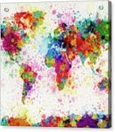 World Map Paint Drop Acrylic Print by Michael Tompsett