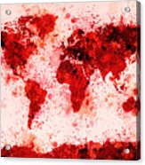 World Map Paint Splashes Red Acrylic Print by Michael Tompsett