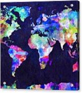 World Map Urban Watercolor Acrylic Print by Michael Tompsett