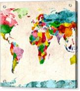 World Map Watercolors Acrylic Print by Michael Tompsett