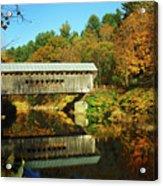 Worrall's Bridge Vermont - New England Fall Landscape Covered Bridge Acrylic Print by Jon Holiday