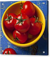 Yellow Bowl Of Tomatoes  Acrylic Print by Garry Gay