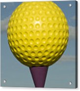 Yellow Golf Ball Acrylic Print by Carl Purcell