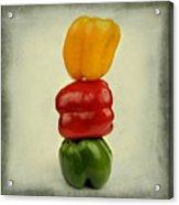 Yellow Red And Green Bell Pepper Acrylic Print by Bernard Jaubert