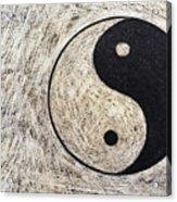 Yin And Yang Symbol On Drum Acrylic Print by Sami Sarkis
