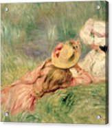 Young Girls On The River Bank Acrylic Print by Pierre Auguste Renoir