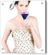 Young Woman Drinking Alcoholic Beverage Acrylic Print by Jorgo Photography - Wall Art Gallery