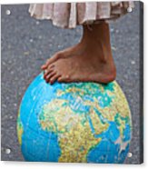 Young Woman Standing On Globe Acrylic Print by Garry Gay