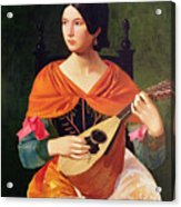 Young Woman With A Mandolin Acrylic Print by Vekoslav Karas
