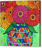 Zinnia Fiesta Acrylic Print by Lisa  Lorenz
