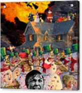 Zombie Snowmen Christmas Acrylic Print by Barry Kite