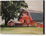 Rhode Island Red Barn Canvas Print by Carolyn Valcourt