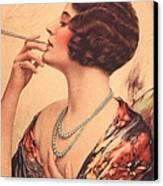 1920s Usa Women Cigarettes Holders Canvas Print by The Advertising Archives