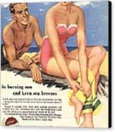1950s Uk Sun Creams Lotions Tan Canvas Print by The Advertising Archives