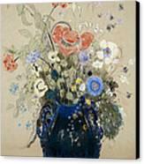 A Vase Of Blue Flowers Canvas Print by Odilon Redon