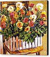 Chair Of Flowers Canvas Print by David Lloyd Glover