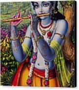 Krishna With Flute  Canvas Print by Vrindavan Das