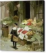 Little Boy At The Market Canvas Print by Victor Gabriel Gilbert