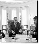 Lyndon Baines Johnson 1908-1973 36th President Of The United States In Talks With Civil Rights  Canvas Print by Anonymous