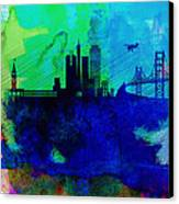 San Francisco Watercolor Skyline 2 Canvas Print by Naxart Studio