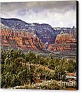 Sedona Arizona In Winter Coat Canvas Print by Bob and Nadine Johnston
