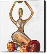Woman In The African Style  With Red Apples Canvas Print by Irina Gromovaja