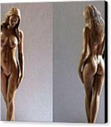 Wood Sculpture Of Naked Woman Canvas Print by Carlos Baez Barrueto