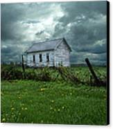 Abandoned Building In A Storm Canvas Print by Jill Battaglia