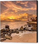 Barbers Point Light House Sunset Canvas Print by Tin Lung Chao