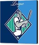 Baseball Hitter Batting Diamond Retro Canvas Print by Aloysius Patrimonio