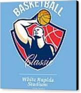 Basketball Player Rebounding Ball Retro Canvas Print by Aloysius Patrimonio