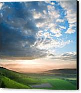 Beautiful English Countryside Landscape Over Rolling Hills Canvas Print by Matthew Gibson