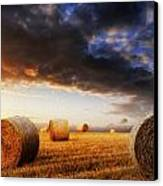 Beautiful Hay Bales Sunset Landscape Digital Painting Canvas Print by Matthew Gibson