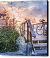 Bicycle At The Beach Canvas Print by Debra and Dave Vanderlaan