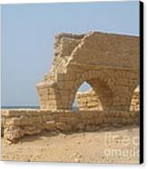 Caesarea Israel Ancient Roman City Port Canvas Print by Robert Birkenes