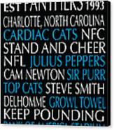 Carolina Panthers Canvas Print by Jaime Friedman