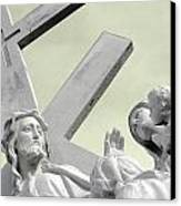 Christ On The Cross With Mourners Saint Joseph Cemetery Evansville Indiana 2006 Canvas Print by John Hanou