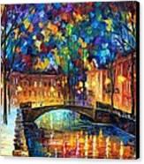 City Bridge Canvas Print by Leonid Afremov