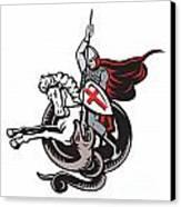 English Knight Fighting Dragon England Flag Shield Retro Canvas Print by Aloysius Patrimonio
