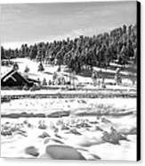 Evergreen Lake House Winter Canvas Print by Ron White