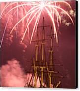 Fireworks Exploding Over Salem's Friendship Canvas Print by Jeff Folger