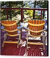 Forest Cottage Deck And Chairs Canvas Print by Elena Elisseeva