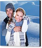 Happy Couple Playing Outdoor At Winter Mountains Canvas Print by Anna Om