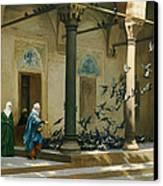 Harem Women Feeding Pigeons In A Courtyard Canvas Print by Jean Leon Gerome