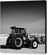 international 5140 tractor with front end loader on frozen field Forget Saskatchewan Canada Canvas Print by Joe Fox